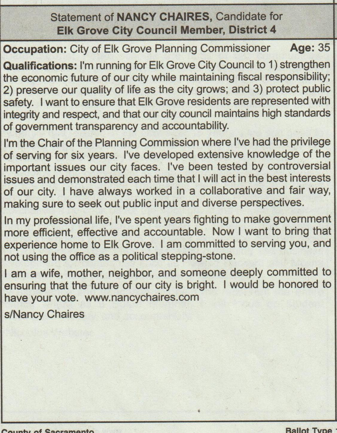Elk Grove City Council District 4 Candidate Statements