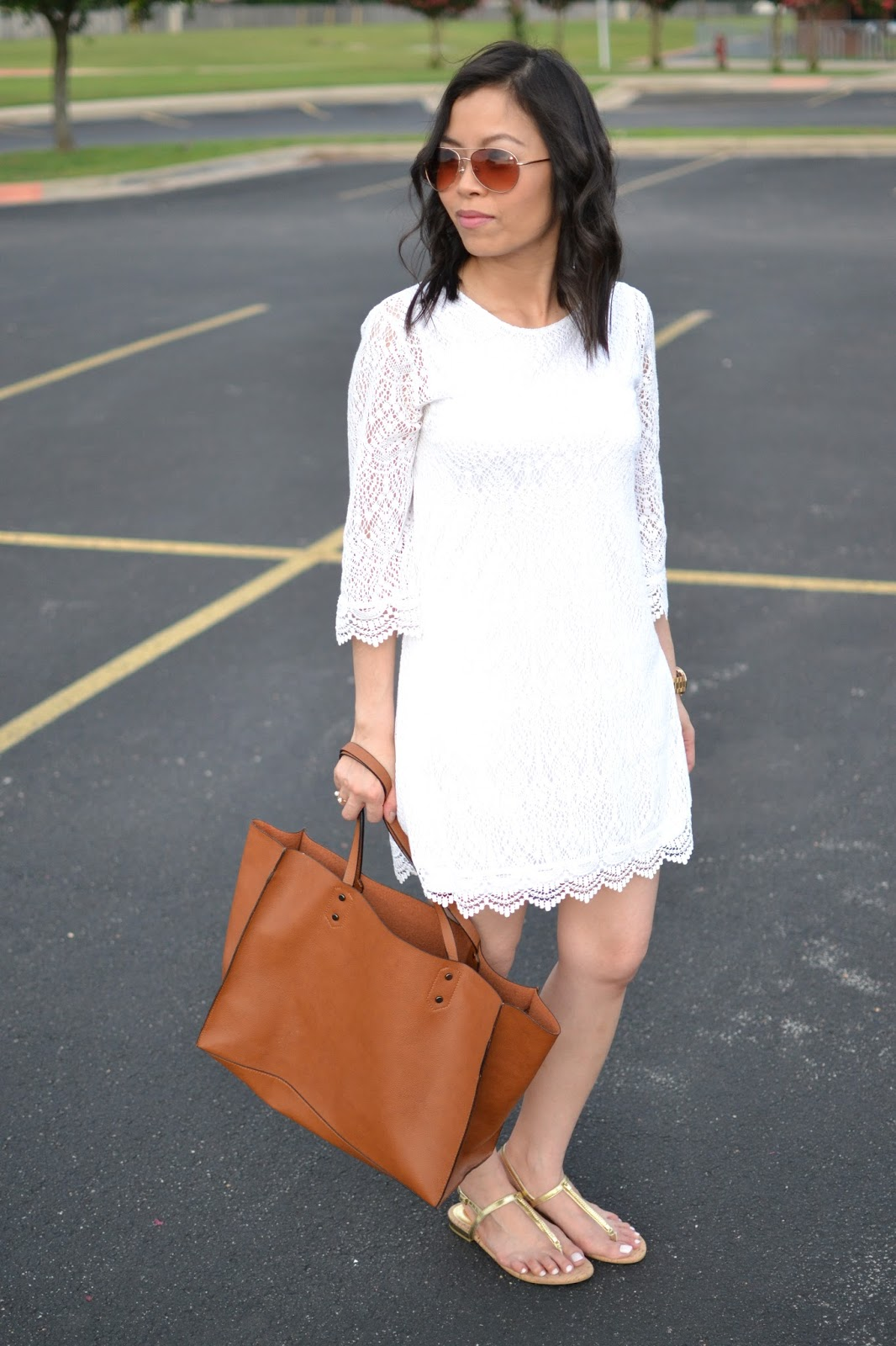 Style and Cappuccino : Summer Lace: White Lace Dress &amp Gold Sandals