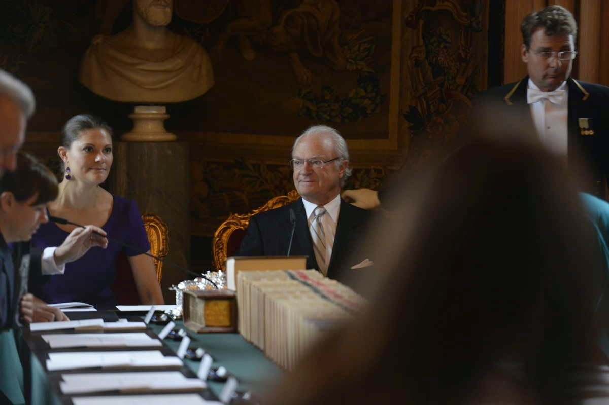 Crown Princess Victoria, Prime Minister Stefan Lofven, King Carl Gustaf and parliament speaker Urban Ahlin, during cabinet meeting at the Royal Palace in Stockholm