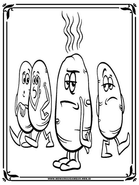 lembar mewarnai gambar kentang