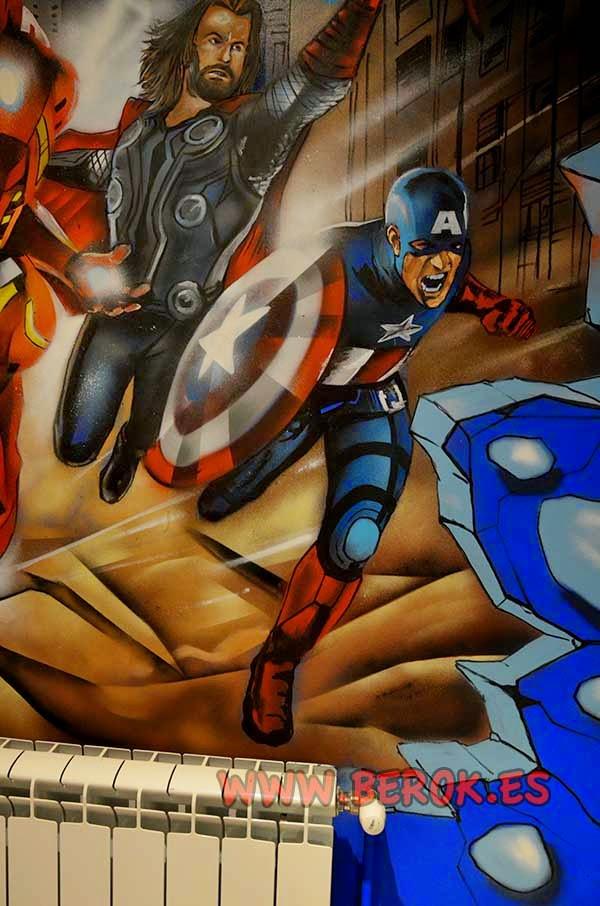 Graffiti mural de Capitán América en habitación