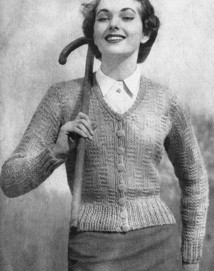 FREE PATTERN 1940's Knitting - Tempelton Quick Knit Cardigan