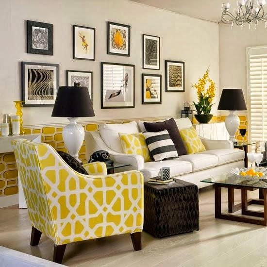 salón en amarillo, blanco y negro