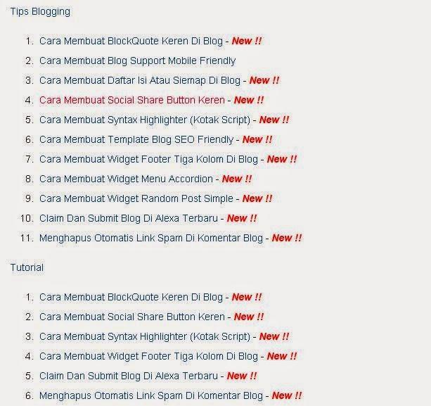 Cara Membuat Daftar Isi Atau Siemap Di Blog