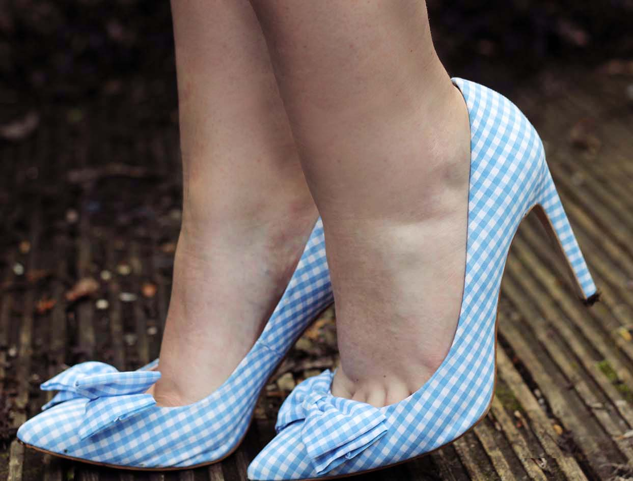 blue gingham shoes dorothy heels