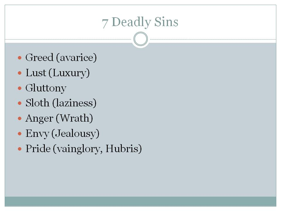 The Seven Capital Sins  Aquinas and More