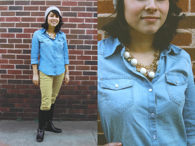 Yellow Pants + Denim Shirt + Accessories | brewedtogether.com
