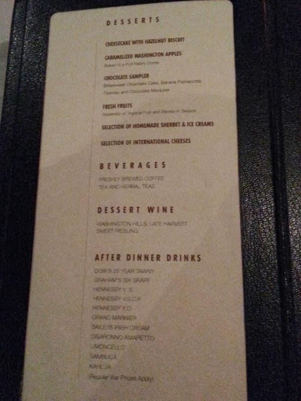 Point dessert menu