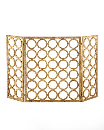 golden hollywood regency geometric circle patten fireplace screen