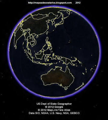 El mundo, google earth, vista nocturna, Oceania y Asia