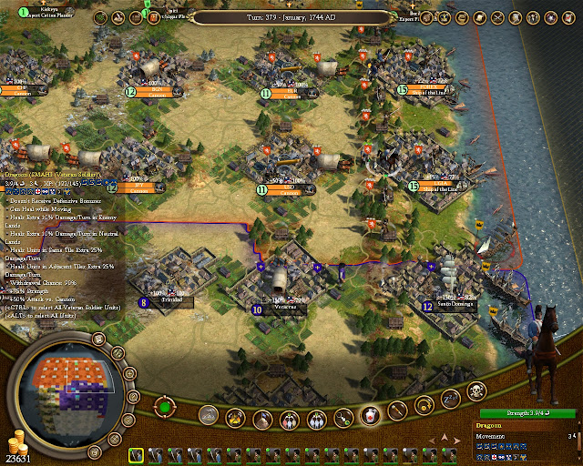 Civilization 4: Colonization - Maximum Level Veteran Dragoon Description
