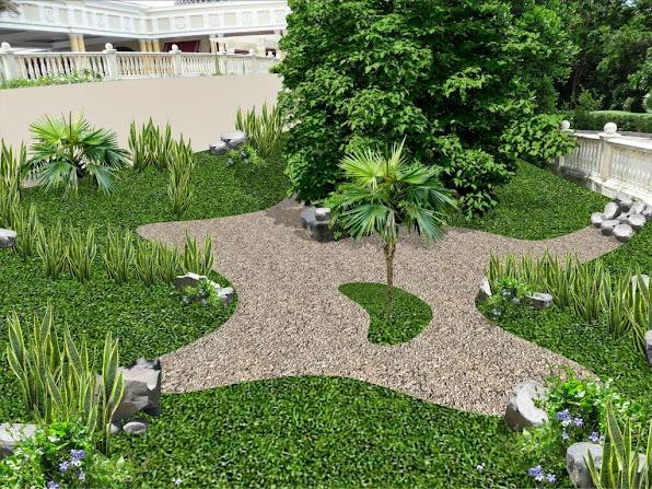 diseño jardín isleta - modelo laguna con piedra