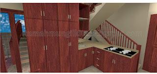 kitchen set mungil minimalis coklat kayu di bawah tangga