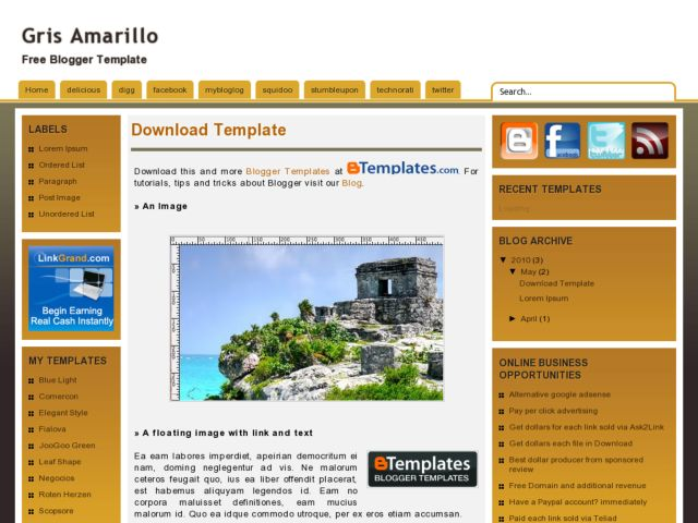 Gris Amarillo Blogger Template