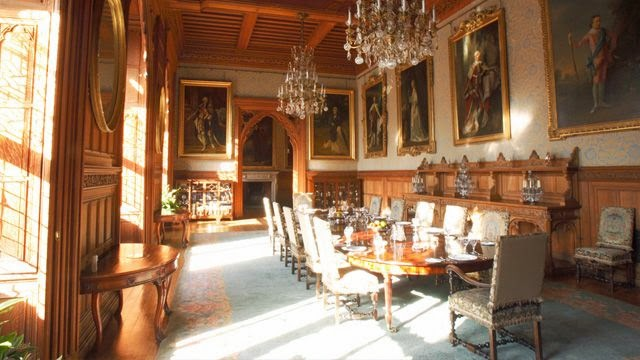 Eighteenth century portraits in dining room of Mount Stuart House, Isle of Bute