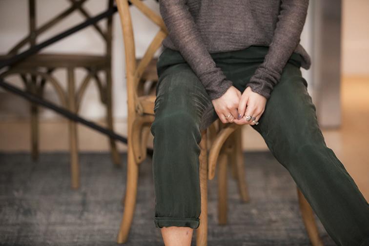 Restoration Hardware Madeline Side Chairs, vintage wash turkish rug, COS emerald green silk pants, Helmut Lang grey knitwear, Chic Peek ring, vintage rings