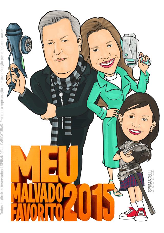 Caricatura Colorida para Família