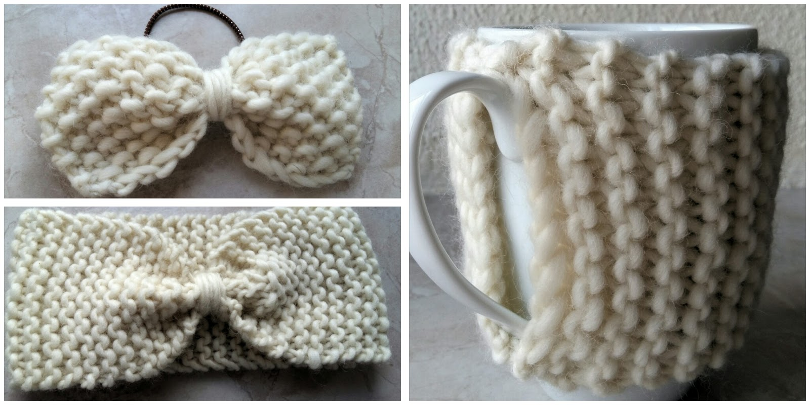 we are knitter , tricot , noeud , bandeau , cache,mug , tuto