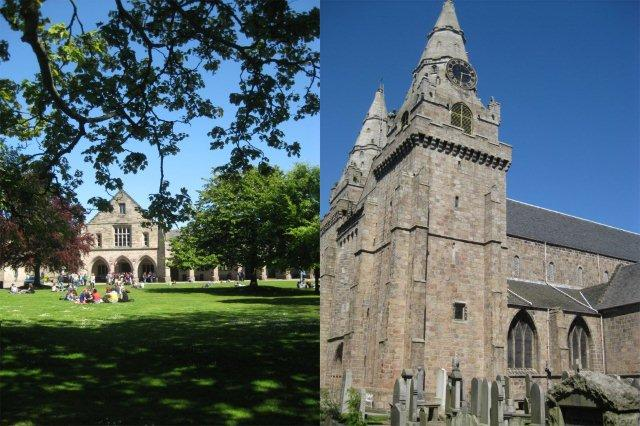 Old Aberdeen - King's lawn en la Universidad de Aberdeen y Catedral de Saint Marchar Cathedral