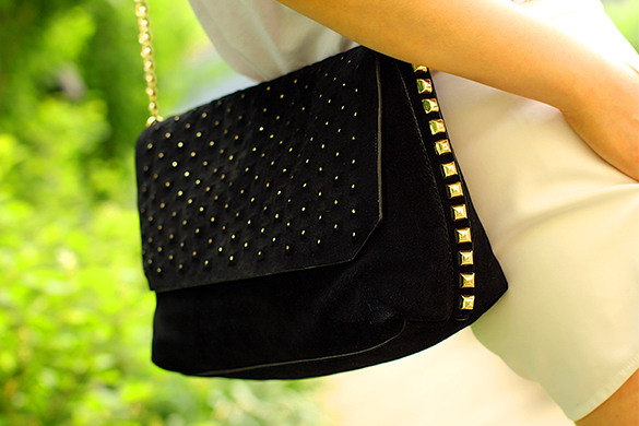 Zara Black Gold Studded Handbag