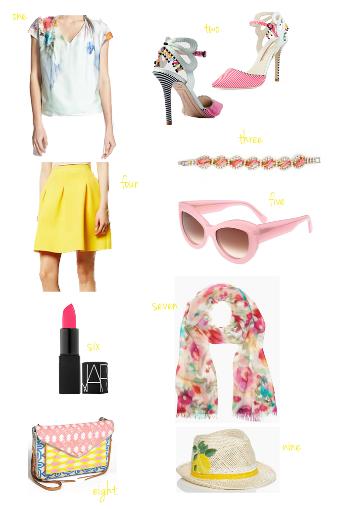 lemon-yellow-spring-outfit-ideas-full-skirt-anthropologie-rebecca-minkoff-bag-nars-lipstick-sophia-webster-heels-ted-baker-watercolor-top-lemon-fedora-kate-spade-scarf