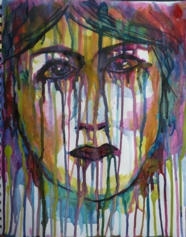 "Whoopidooings: Carmen Wing -  ""Abstract"" Grunge Portrait in Acrylic"