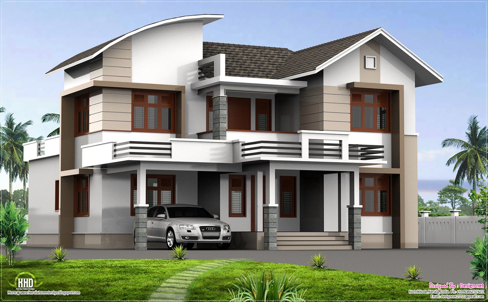 2400 4 bedroom home design kerala home design for Home designs 4 you