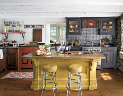 american country kitchen  colorful design