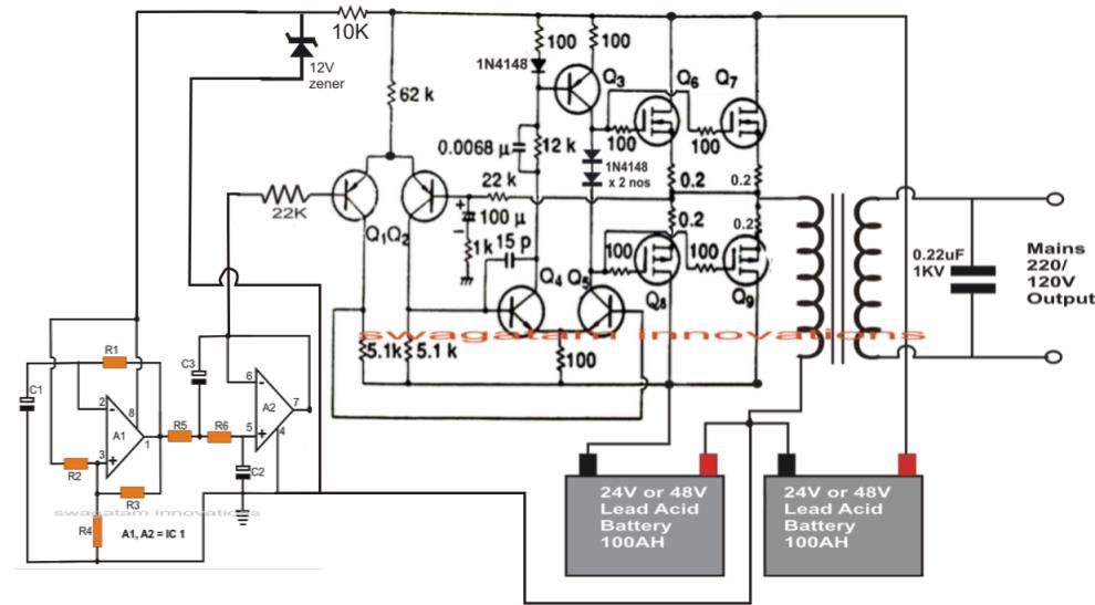 1KVA 1000 watts Pure Sine Wave Inverter Circuit using 555 ic