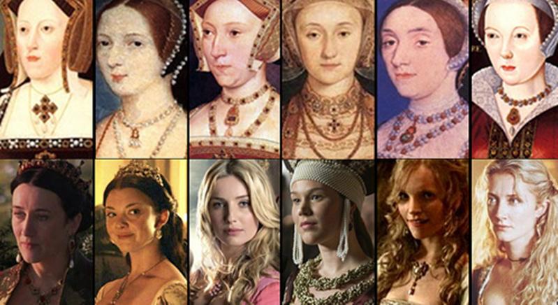 portrety sześciu żon Henryka i aktorki, które wcieliły się w ich role
