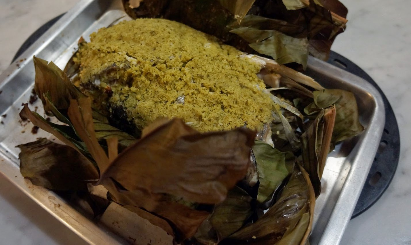 Coconut and Coriander Fish Baked in Banana Leaves