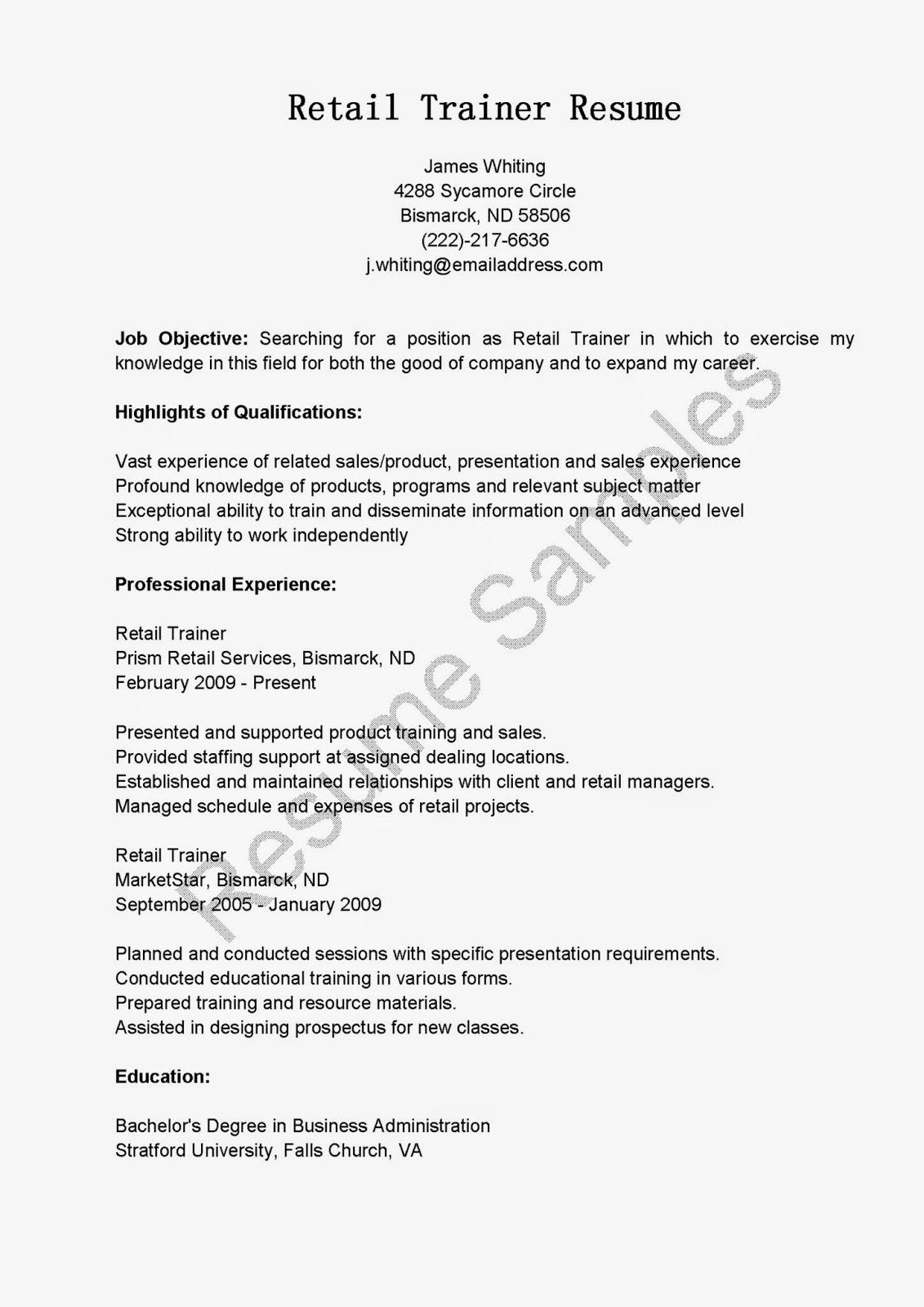 resume samples retail trainer resume sample