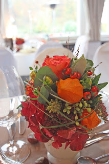 Fall centerpiece - autumn wedding, orange, terracotta, dahlias