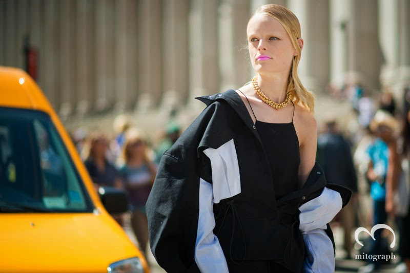 Model Hanne Gaby Odiele is infront of Yellow Cab at New York Fashion Week