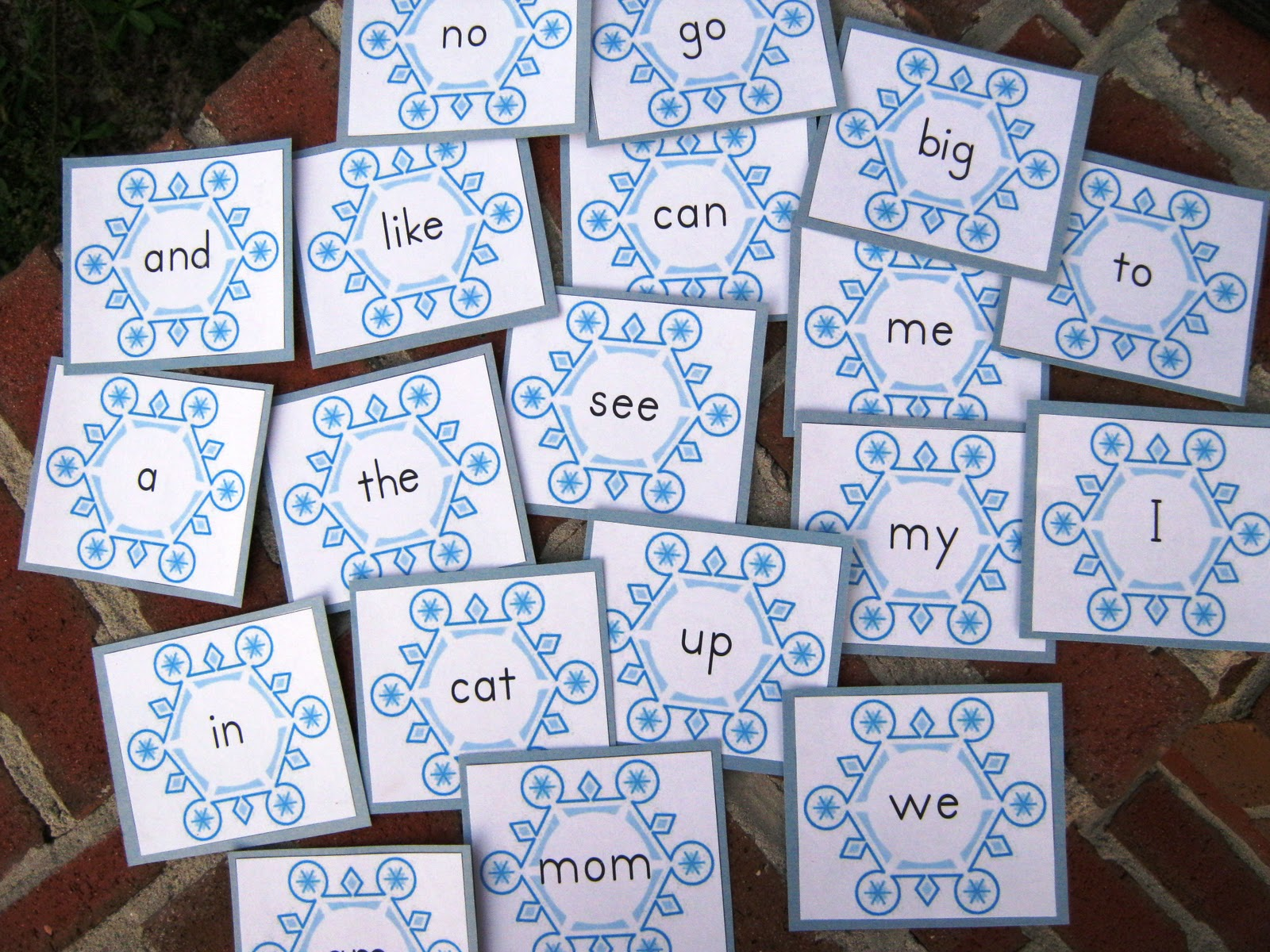 game printable  memory game quarter sight 2nd (snowflakes) word words memory sight