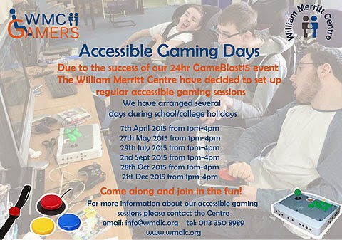 William Merritt Centre's Accessible Gaming Days. Image of Colin McDonnell and friends playing games using a OneSwitch Console Switch Interface Deluxe (C-SID) with accessibility switches.