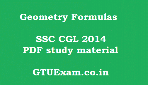 Geometry Formulas - SSC CGL Maths Study Material