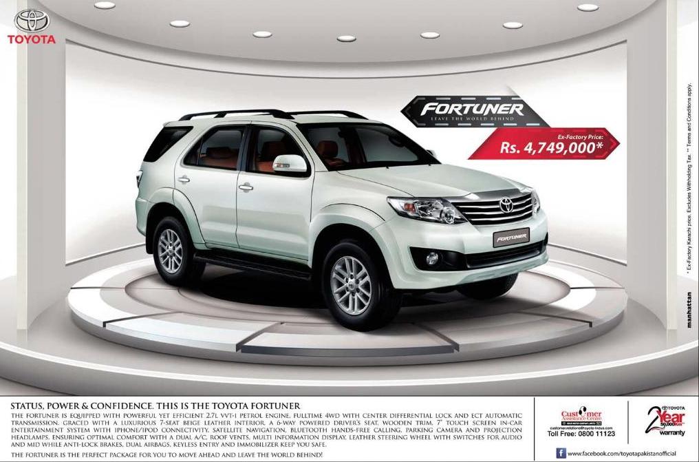 toyota fortuner price in pakistan price in pakistan
