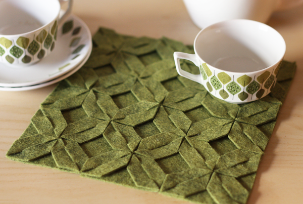 Green felt trivet