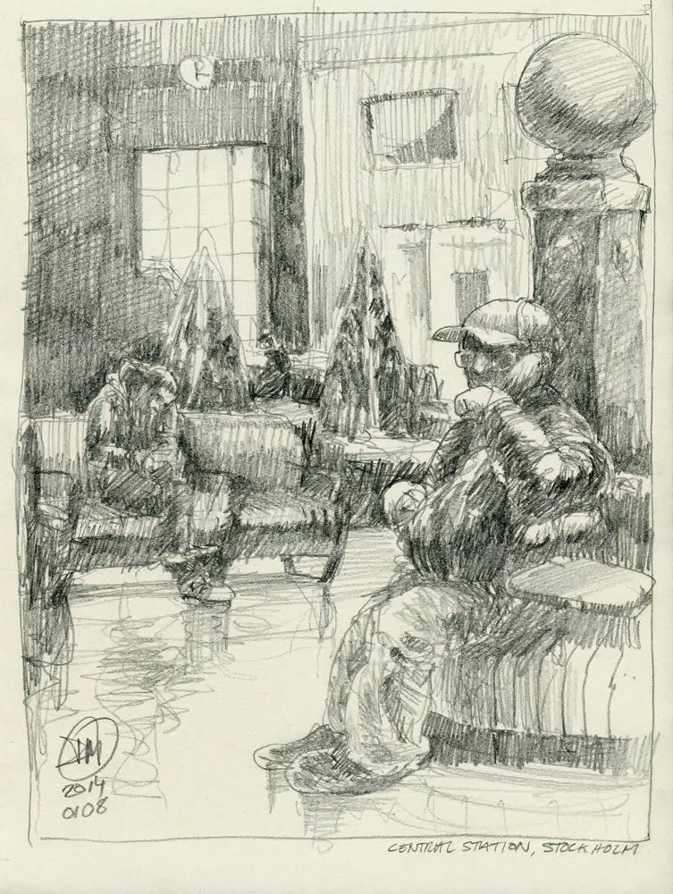 A4, HB pencil sketch, Central Station, Stockholm