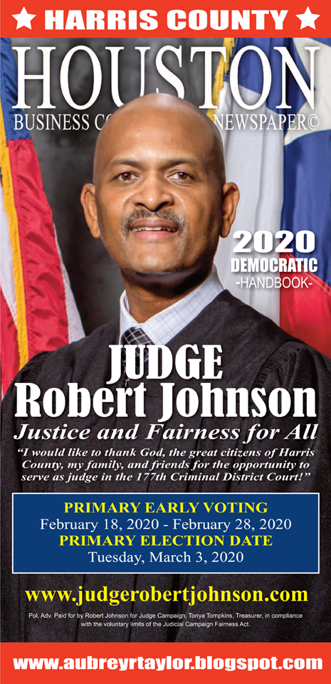 The Honorable Judge Robert Johnson is running for re-election on Tuesday, March 3, 2020