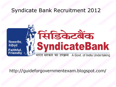 Syndicate Bank Recruitment 2012