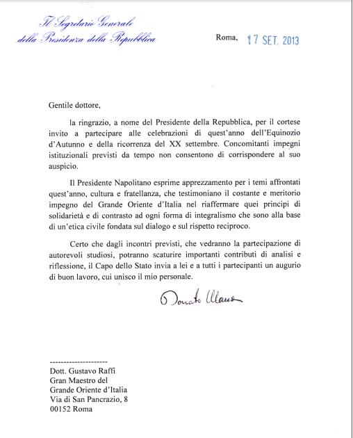 """Mensaje del Presidente de la República para el Gran Oriente de Italia: """"aprecio el esfuerzo en la promoción de la cultura y de la fraternidad"""" P"""