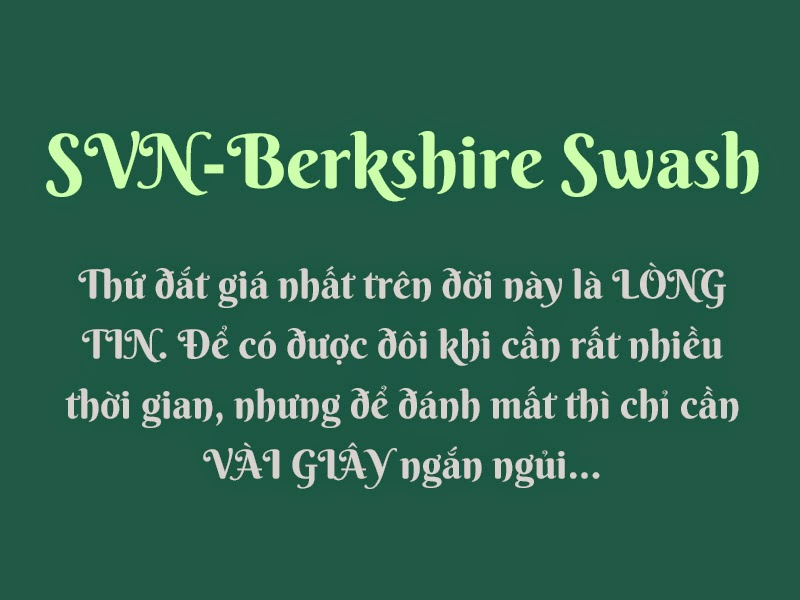 [Google Font] Berkshire Swash Việt hóa