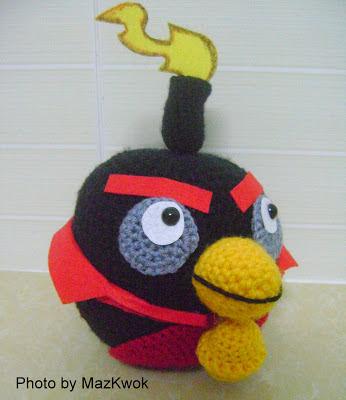 crochet black angry bird