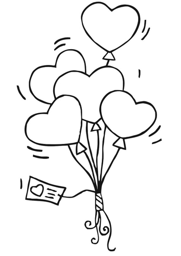Cute Heart Balloons Coloring Page
