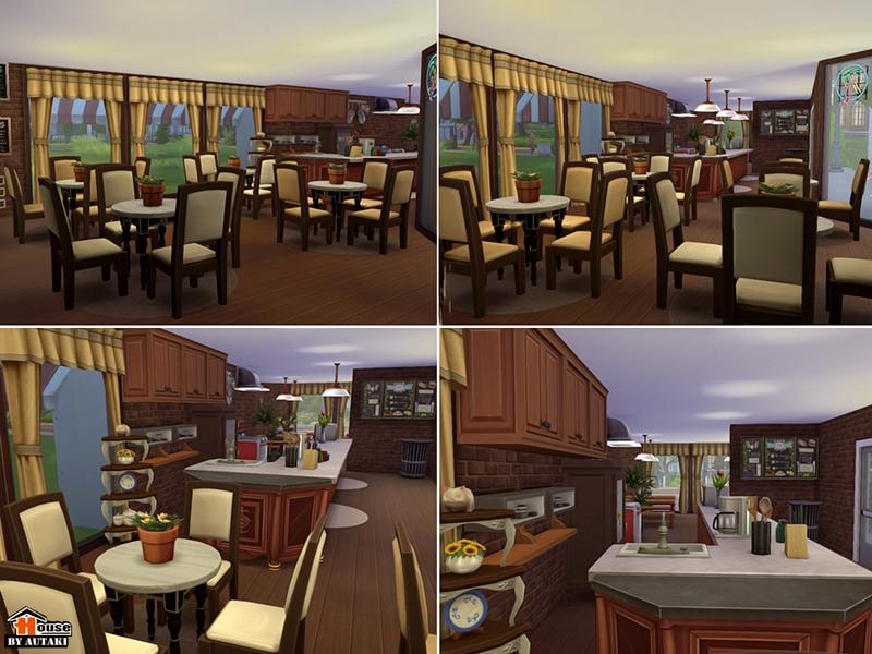 Red white restaurant bar sims houses