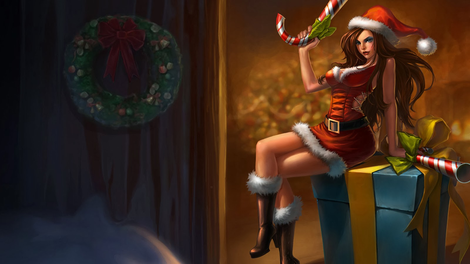 Miss Fortune Christmas Costume LoL a6 Wallpaper HD