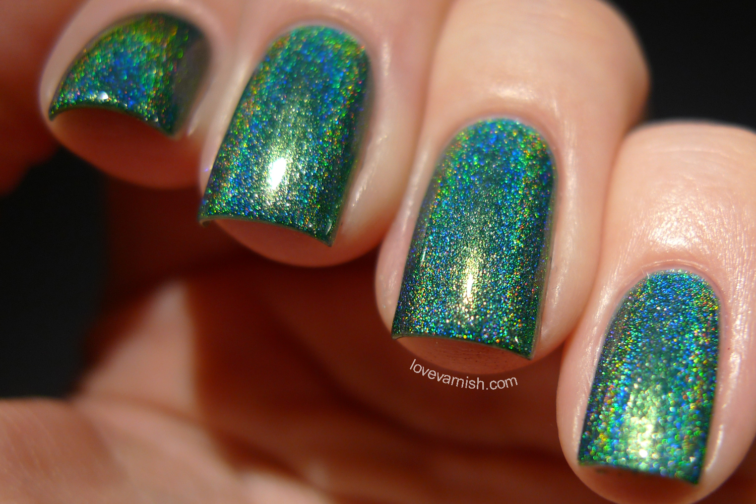 Too Fancy Lacquer Peacock Parade peacock green linear holographic polish