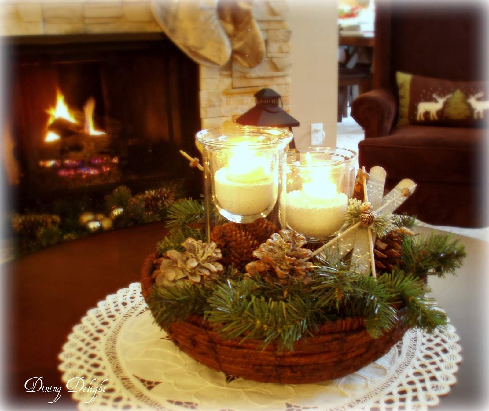 Dining delight christmas home tour 2013 Coffee table centerpiece